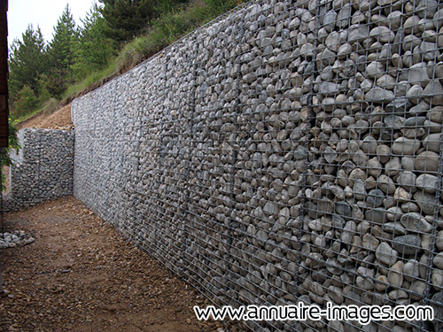 Photo Gabion Mur En Pierres A La Verticale