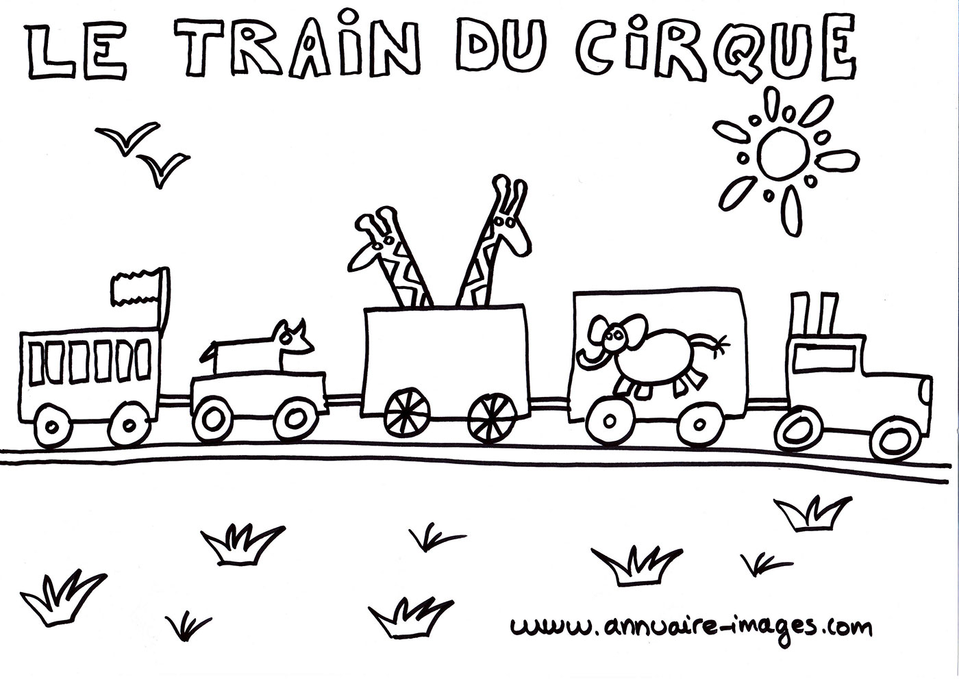 Train du cirque dessin à colorier
