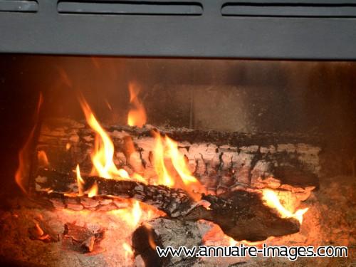 Photo Feu de cheminée avec bois d'accacia